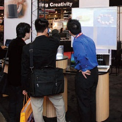 Demonstration in a tradeshow booth