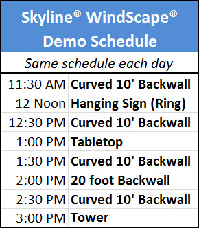 Skyline WindScape demo schedule at the Exhibitor 2014 trade show