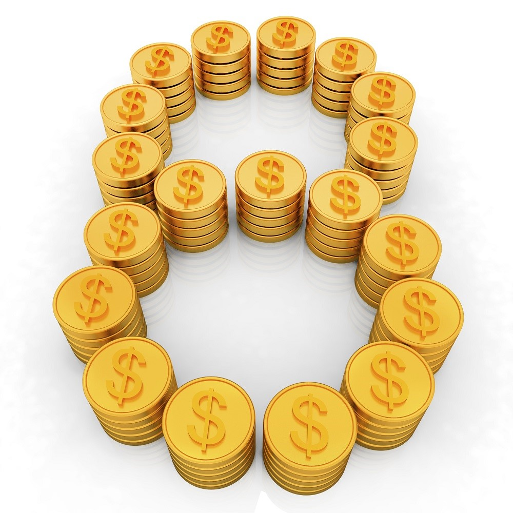 "the number ""eight"" of gold coins with dollar sign"