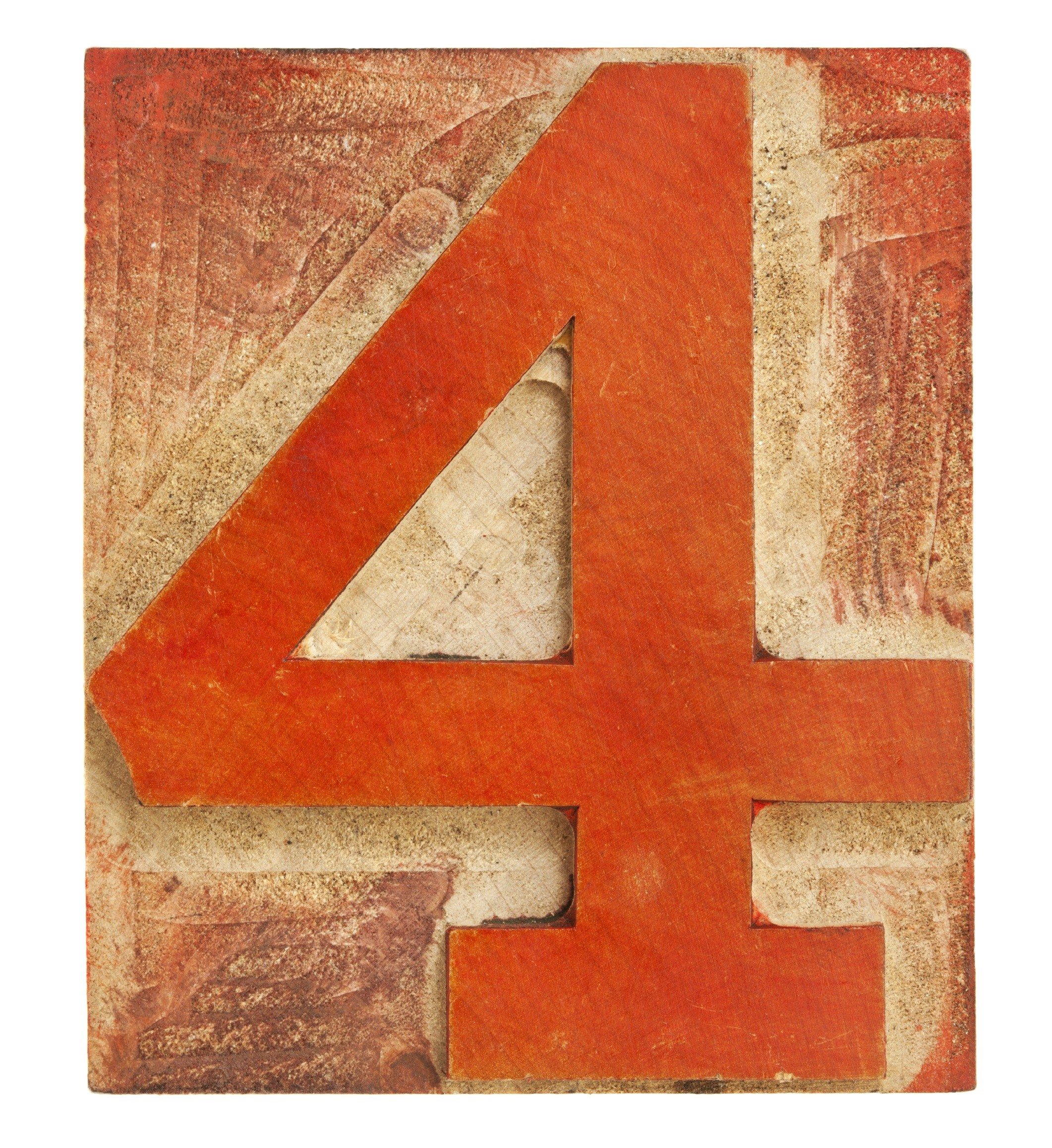 number four - letterpress wood type